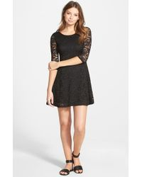 Lush - Black Lace Fit & Flare Dress - Lyst