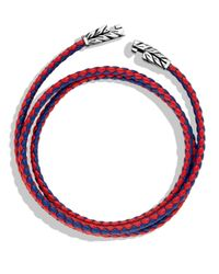 David Yurman | Chevron Triplewrap Bracelet in Red Blue for Men | Lyst