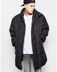 ASOS | Oversized Quilted Parka Jacket In Black for Men | Lyst
