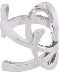 Saint Laurent Metallic Silver Cassandre Monogram Cuff