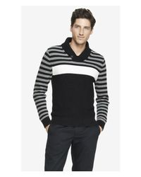 Express - Black Shawl Collar Block Stripe Sweater for Men - Lyst