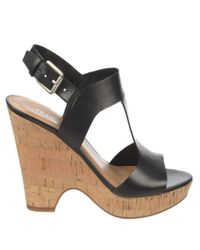 Franco Sarto | Black Gitana Leather Slingback Sandals | Lyst