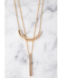 Forever 21 - Metallic Layered Matchstick Necklace Set - Lyst