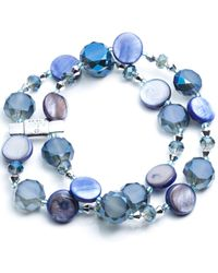Jones New York - Silver-tone Blue Mixed Bead Two-row Stretch Bracelet - Lyst