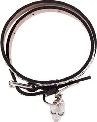 Alexander McQueen - Black and Beige Double Wrap Skull Charm Bracelet for Men - Lyst