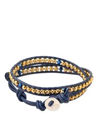 Colana | Blue Leather Wrap Bracelet With Swarovski | Lyst
