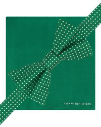 Tommy Hilfiger - Green Micro-dot Pre-tied Bow Tie And Pocket Square Set for Men - Lyst