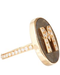 Carolina Bucci | Metallic Rose Gold Diamond And Labradorite M Initial Ring | Lyst