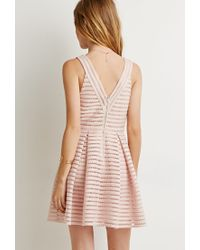 Forever 21 | Pink Textured Fit & Flare Dress | Lyst