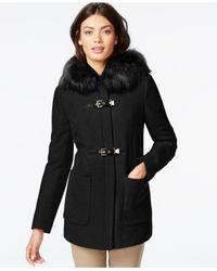 Calvin Klein | Black Faux-fur-trim Buckled Coat | Lyst