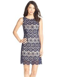 Eliza J | Blue Crochet Sleeveless Shift Dress | Lyst