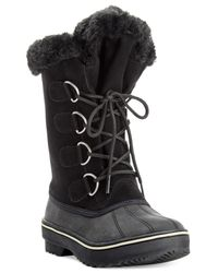 Style & Co. | Black Style&co. Mikkey Lace-up Faux-fur Cold Weather Boots, Only At Macy's | Lyst