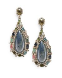 Bavna | Blue Diamond, Tourmaline, Labradorite & Sterling Silver Teardrop Earrings | Lyst