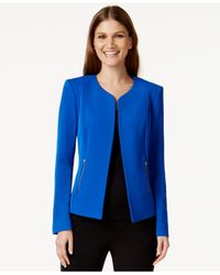 Calvin Klein | Blue Zip-pocket Collarless Blazer | Lyst