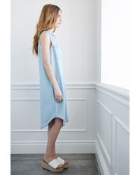 Forever 21 - Blue Longline Chambray Shirtdress - Lyst