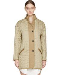 Étoile Isabel Marant - Natural Khaki Linen Fluffy Quilted Cali Coat - Lyst