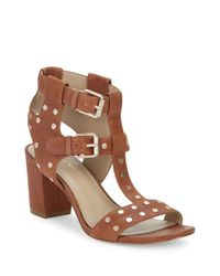 424 Fifth | Brown Letha Leather Studded Sandals | Lyst