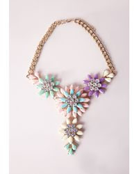 Missguided - Multicolor Floral Statement Necklace Multi - Lyst