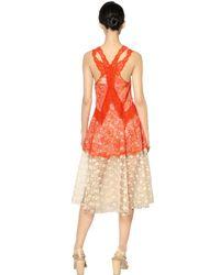 Stella McCartney - Red Viscose Lace Long Dress - Lyst