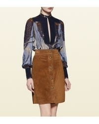 Gucci - Blue Fantasy Print Embroidered Silk Shirt - Lyst