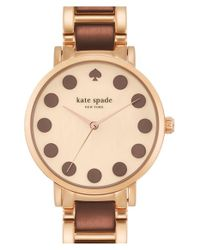 kate spade new york | Brown 'gramercy' Dot Dial Bracelet Watch | Lyst