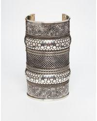 ASOS - Gray Chunky Etch Cuff Bracelet - Lyst
