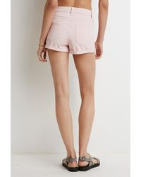 Forever 21 | Pink Cuffed Denim Shorts | Lyst