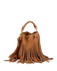 Saint Laurent - Brown Emmanuelle Small Suede Fringe Bucket Bag - Lyst
