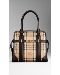 99024480b581 Burberry Medium Haymarket Check Portrait Tote Bag in Natural - Lyst