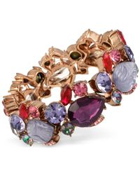 Betsey Johnson - Pink Rose Gold-tone Multi-crystal And Stone Stretch Bracelet - Lyst