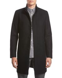 Theory | Black 'belvin' Wool Blend Car Coat for Men | Lyst