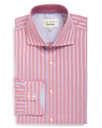Ted Baker | Blue 'maccy' Trim Fit Stripe Dress Shirt for Men | Lyst