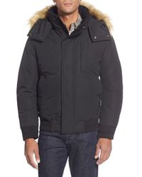 Andrew Marc | Black 'bristol' Hooded Bomber With Faux Fur Trim for Men | Lyst