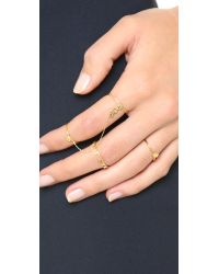 Vanessa Mooney | Metallic Thunderstruck Double Chain Ring - Gold | Lyst