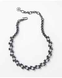 Ann Taylor | Metallic Modern Pearlized Boxchain Necklace | Lyst