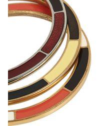 Oscar de la Renta | Blue Set Of Three Gold-Plated Resin Bracelets | Lyst