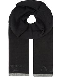 Armani Jeans | Black Logo Stitch Scarf, Men's, 12 for Men | Lyst