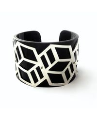 Anna Byers - Wide Perspex Cuff Black & Silver - Lyst