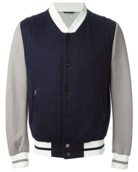 Fendi | Blue Contrast Baseball Jacket for Men | Lyst