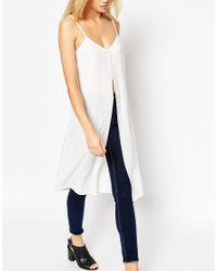 ASOS | White Longline Cami Top With Front Split | Lyst