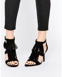 Oasis | Black Tassel Heeled Sandal | Lyst