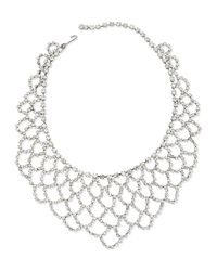Kenneth Jay Lane | Metallic Scalloped-lace Crystal Bib Necklace | Lyst