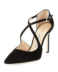 Manolo Blahnik - Black Umice Suede Crisscross Point-Toe Pump - Lyst