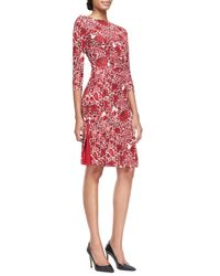 Tory Burch - Brown Ria Floral-Print Boat-Neck Sheath Dress - Lyst