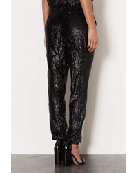 TOPSHOP | Black Sequin Slim Trousers | Lyst
