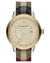 Burberry - Metallic Check Stamped Leather Strap Watch - Lyst