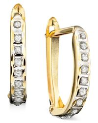 Macy's | Metallic Diamond Accent Earrings, 14k Gold Hoops | Lyst