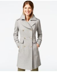Vince Camuto | Gray A-line Military Walker Coat | Lyst
