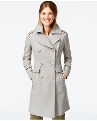 Vince Camuto - Gray A-line Military Walker Coat - Lyst