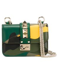 Valentino - Green Glam Lock Leather and Cotton Shoulder Bag - Lyst
